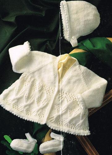 4441H baby matinee coat set vintage knitting pattern  PDF Download