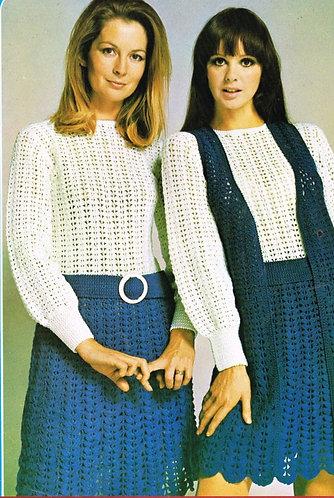 5104T ladies dress vintage crochet pattern  PDF Download