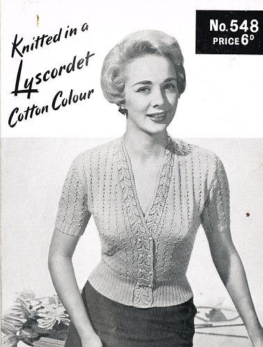 548T ladies cardigan vintage knitting pattern  PDF Download