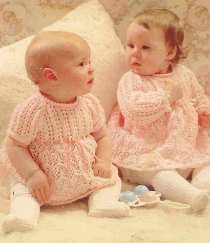 1476H baby dress vintage knitting pattern  PDF Download