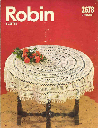 2678R round circular tablecloth vintage crochet pattern  PDF Download