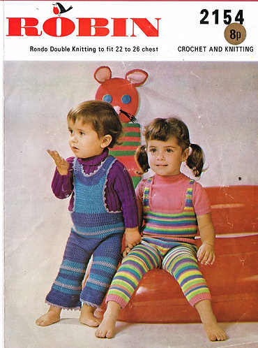 2154R baby romper suits vintage knitting and crochet pattern PDF Download