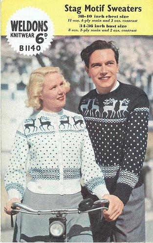 Weldons 1140 stag cardigan vintage knitting pattern PDF Download