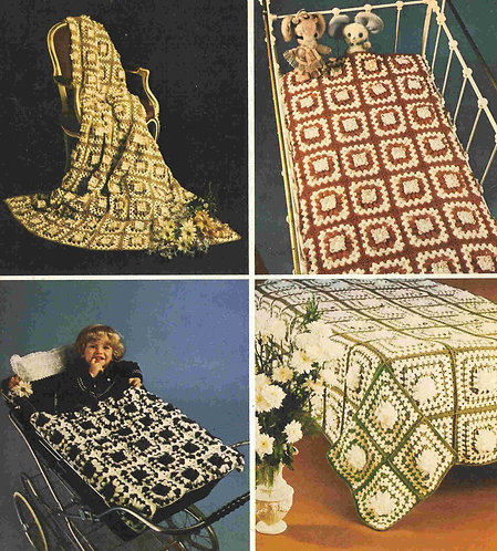 5973T flower loom blankets vintage crochet pattern  PDF Download