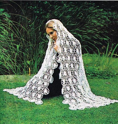 5976T flower loom ladies shawl vintage crochet pattern  PDF Download