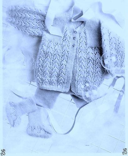 8739P baby matinee coat set vintage knitting pattern  PDF Download