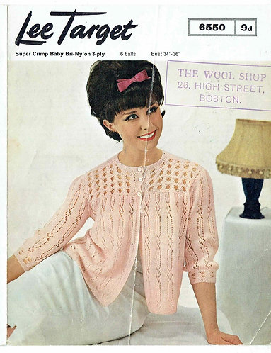6550Lt ladies bedjacket vintage knitting pattern  PDF download