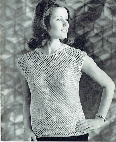 620T ladies summer top vintage crochet pattern  PDF Download