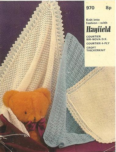 970H baby blanket shawl vintage knitting pattern PDF Download