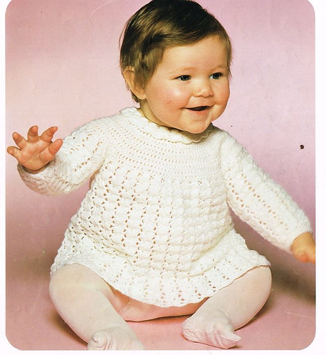 1731H baby dress vintage crochet pattern PDF Download