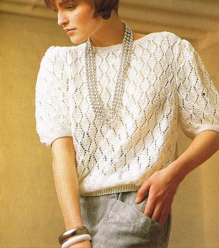 5110P ladies summer jumper Vintage knitting pattern  PDF Download