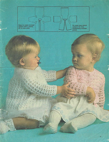 Handworked jackets for baby vintage crochet pattern PDF download