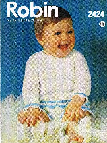 2424R baby jumper set vintage crochet pattern  PDF Download