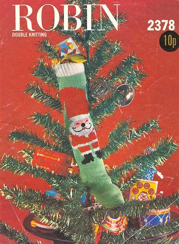 2378R christmas stocking vintage knitting pattern  PDF Download
