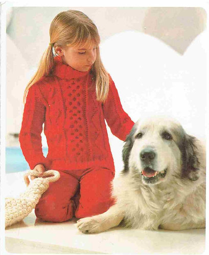 7506P girls aran jumper Vintage knitting pattern  PDF Download
