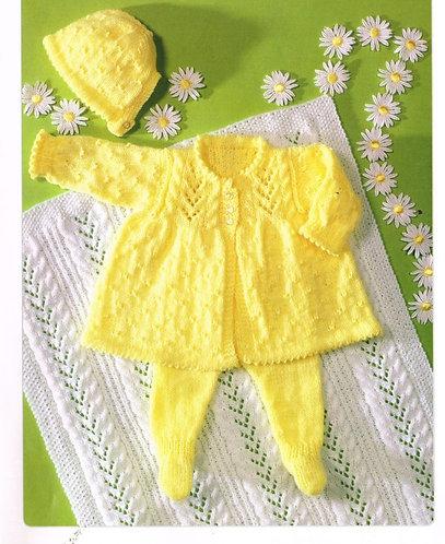7198T baby pram suit vintage knitting pattern  PDF Download