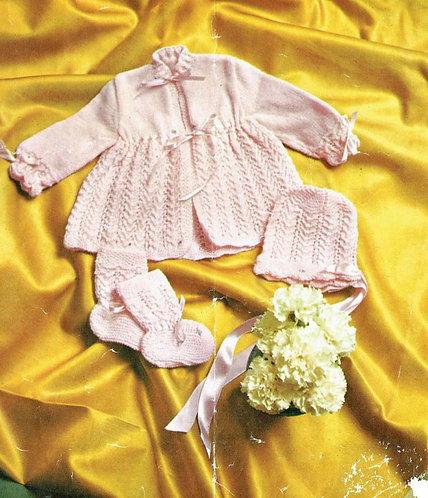 1517M baby matinee coat set vintage knitting pattern  PDF Download