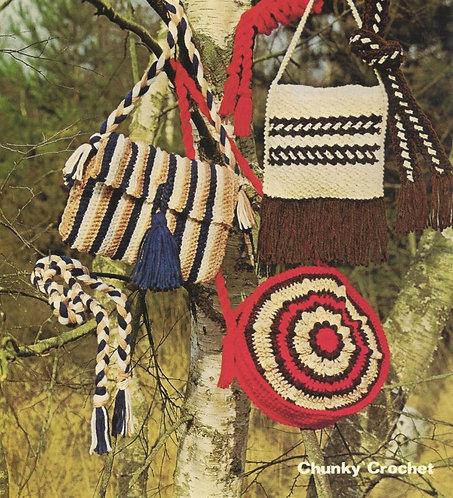 1673 ladies bag scarf set Vintage crochet pattern  PDF Download