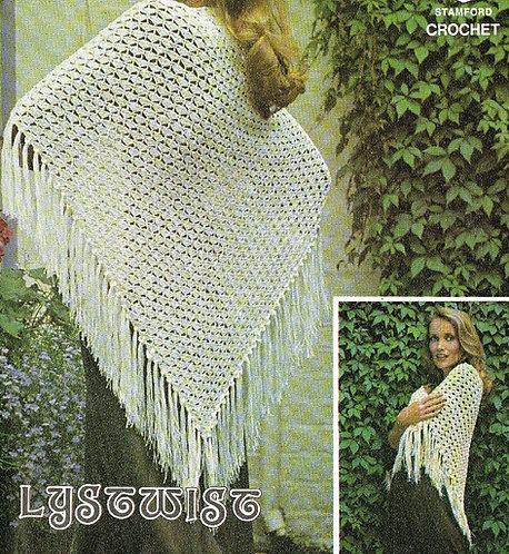 6113T ladies shawl vintage crochet pattern  PDF Download