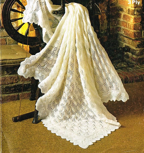 1800M baby shawl vintage knitting pattern  PDF Download