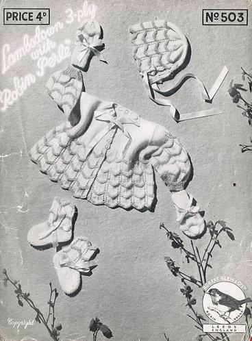 503R baby matinee coat set vintage knitting pattern  PDF Download