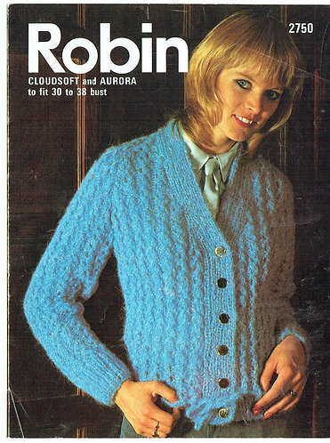 2750R ladies mohair cardigan vintage knitting pattern  PDF Download