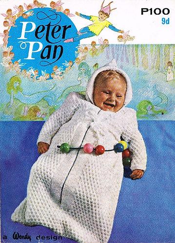 100PP baby sleeping bag vintage knitting pattern  PDF Download