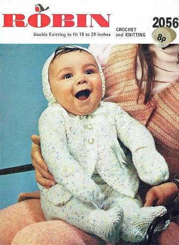2056R baby matinee coat set vintage crochet pattern  PDF Download