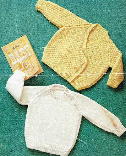 1580M baby jumper cardigan vintage knitting pattern  PDF Download