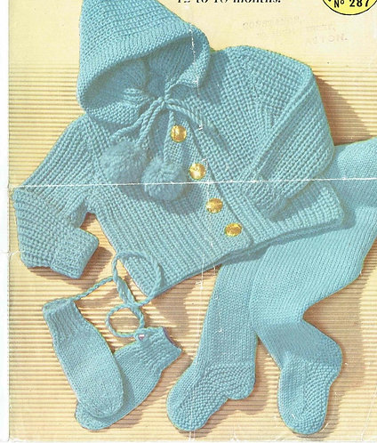 287M baby pram suit vintage knitting pattern  PDF Download