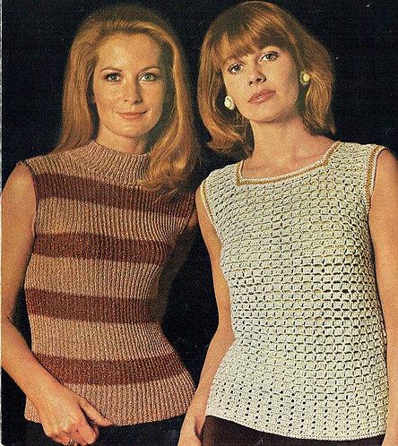812T ladies summer top vintage crochet knitting pattern  PDF Download