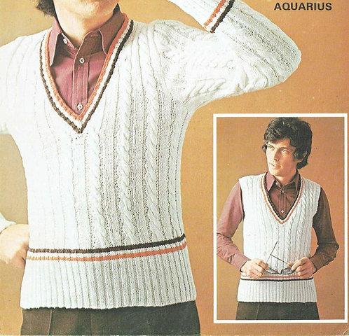 6040T mens jumper vintage knitting pattern  PDF Download