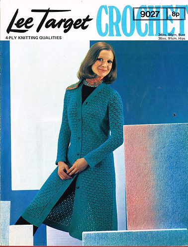 9027Lt ladies cardigan coat vintage crochet pattern  PDF Download
