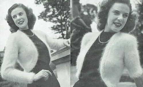 244P ladies angora bolero cardigan vintage knitting pattern  PDF Download