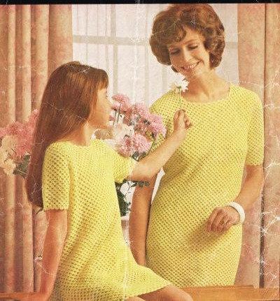 600H mother daughter dress Vintage crochet pattern  PDF Download