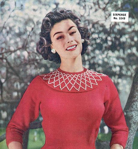 Ladies beaded yoke jumper 3349 vintage knitting pattern PDF Download