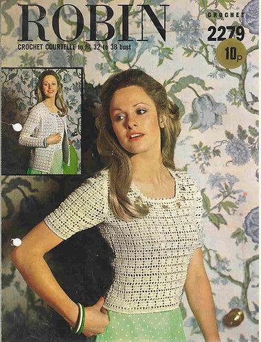 2279R ladies top vintage crochet pattern  PDF Download