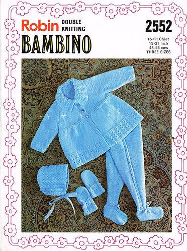 2552R baby pram suit vintage knitting pattern  PDF Download