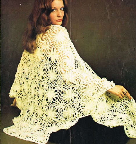5975T flower loom shawl vintage crochet pattern  PDF Download