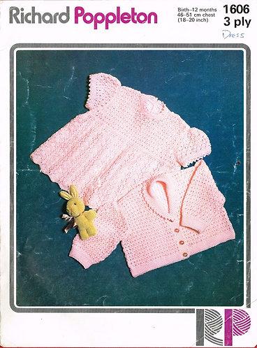 1606RP baby dress matinee coat set vintage knitting pattern  PDF Download