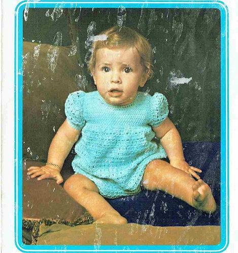 5144T baby romper suit vintage crochet pattern  PDF Download