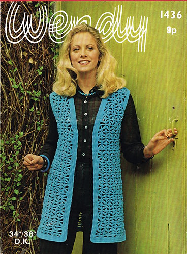 1436W ladies vintage crochet pattern PDF