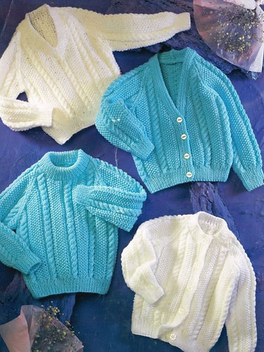 4214H baby cardigan vintage knitting pattern PDF Download