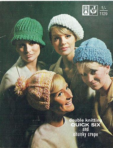 1129Bell hats vintage knitting pattern PDF