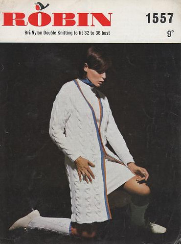 1557R ladies long cardigan socks vintage knitting pattern  PDF Download
