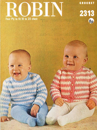 2313R baby cardigan jumper vintage crochet pattern  PDF Download