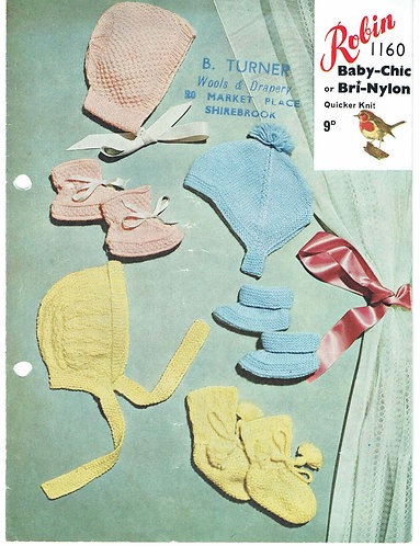 1160R baby bonnets hats vintage knitting pattern  PDF Download