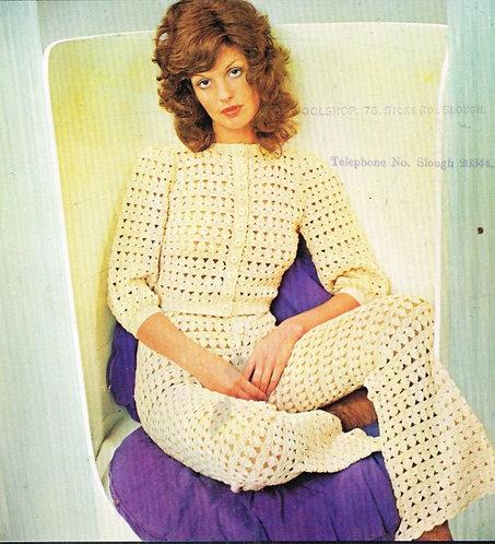 5129T ladies trouser suit vintage crochet pattern  PDF Download