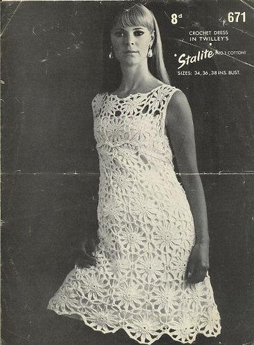 671T ladies dress vintage crochet pattern  PDF Download