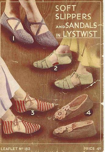 182T ladies slippers vintage crochet pattern  PDF Download